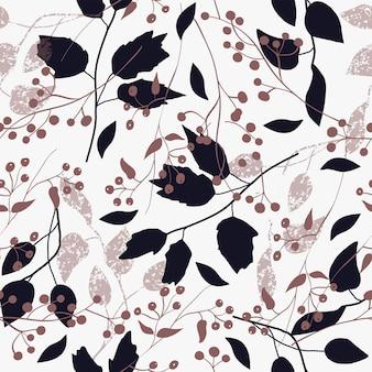 Piante astratte con motivo autunnale naturale senza soluzione di continuità e foglie marroni su sfondo bianco