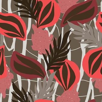 Foglie e piante astratte con motivo autunnale naturale senza soluzione di continuità stampa sfondo bianco disegno a mano