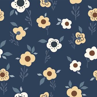 Motivo floreale naturale senza soluzione di continuità fiori astratti foglie sfondo blu scuro disegnato a mano