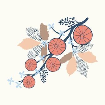Motivo floreale naturale senza soluzione di continuità, frutti astratti e foglie su sfondo bianco.