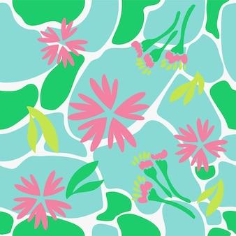 Motivo floreale naturale senza soluzione di continuità con fiori rosa astratti e foglie verdi su sfondo bianco