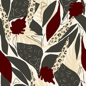Modello naturale senza cuciture astratto foglie piante esotiche sfondo bianco disegno a mano