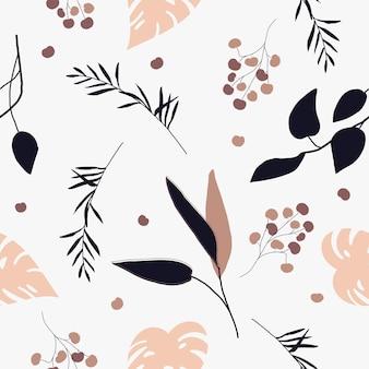 Piante e foglie astratte con motivo naturale senza soluzione di continuità su uno sfondo bianco disegno a mano