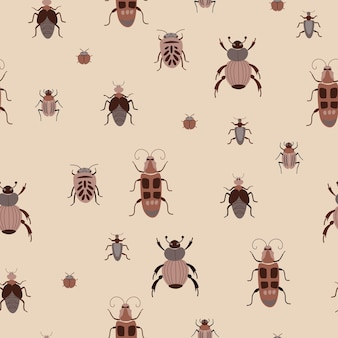 Seamless pattern naturale bug insetti insetti sfondo marrone disegno a mano design per textil