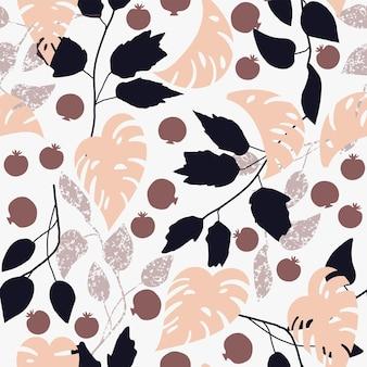 Frutti e foglie astratti della foglia di monstera del modello naturale senza cuciture su un fondo bianco