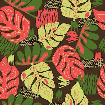 Foglie astratte di foglie di monstera con motivo naturale senza cuciture su uno sfondo marrone disegno a mano