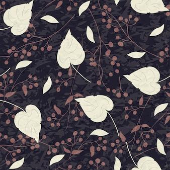 Piante e foglie astratte di struttura naturale senza cuciture del modello su un fondo nero