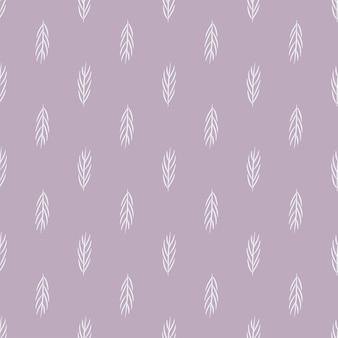 Modello geometrico della natura senza cuciture fiori astratti foglie ed elementi sfondo lilla disegnati a mano