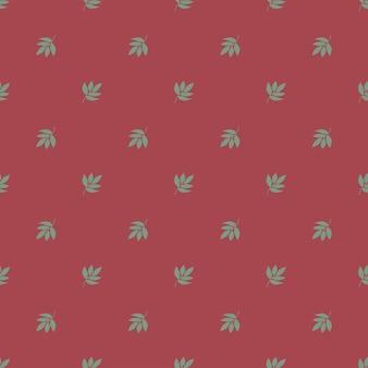 Modello geometrico della natura senza cuciture fiori astratti foglie ed elementi sfondo rosso disegnato a mano