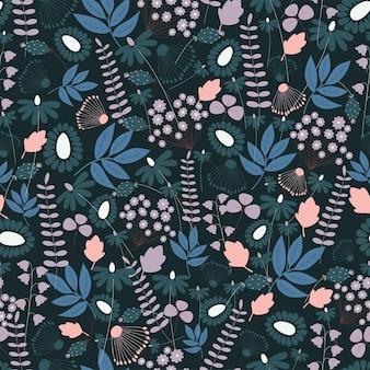 Modello di natura senza cuciture giardino fiori astratti foglie ed elementi sfondo nero disegnato a mano