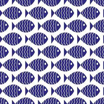 Modello nautico senza soluzione di continuità con il pesce. elemento di design per sfondi, inviti per baby shower, biglietti d'auguri, album di ritagli, stampa su tessuto, ecc.