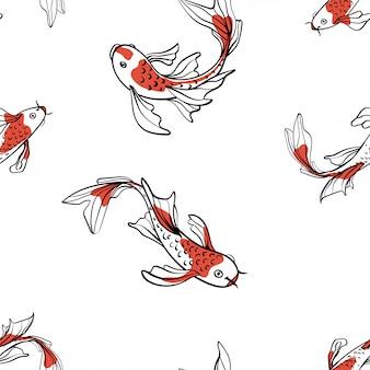Seamless pattern orientale con carpe giapponesi koi. un simbolo di buona fortuna. sfondo asiatico, illustrazione. stampa in tessuto naturale.