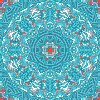 Modello ornamentale senza cuciture di ornamenti circolari. ornamento rotondo in pizzo centrino. sfondo invernale blu