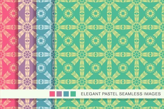 Seamless pattern pastello freccia piuma croce fiore