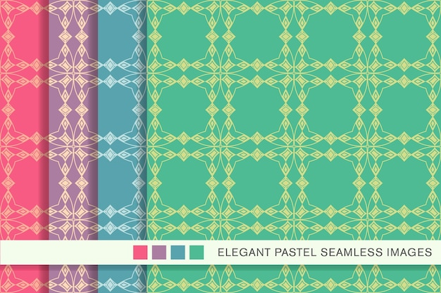 Seamless pattern pastello curve square check cross frame diamond gem