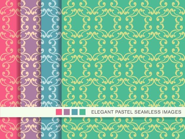 Seamless pattern pastello spiral cross feather frame