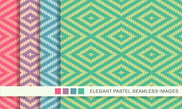 Seamless pattern pastello stitch cross square check diamond frame line
