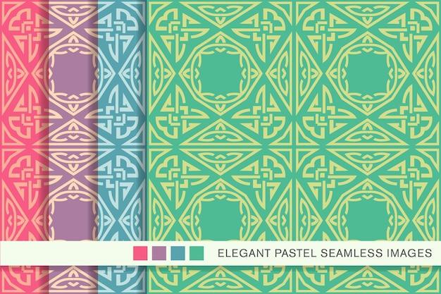 Seamless pattern pastello triangolo poligono aboriginal cross frame chain