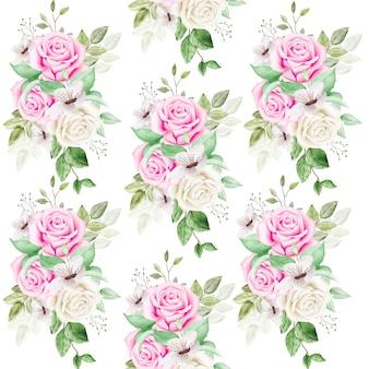 Patern senza soluzione di continuità con acquerello foglie floreali