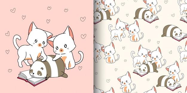 Seamless pattern 2 simpatici gatti e panda stanno leggendo il libro di testo
