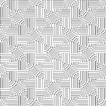 Seamless pattern 3d paper art angolo tondo geometria quadrata telaio a catena