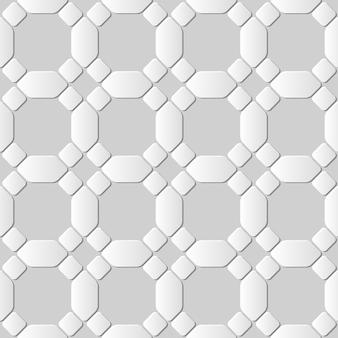 Modello senza cuciture 3d carta bianca tagliata arte rotonda angolo ottagono croce geometria