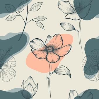 Modello senza cuciture dei fiori e delle foglie tropicali floreali botanici astratti