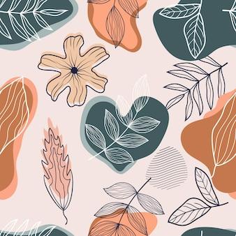 Modello senza cuciture di foglie tropicali floreali botaniche astratte line art sketch style