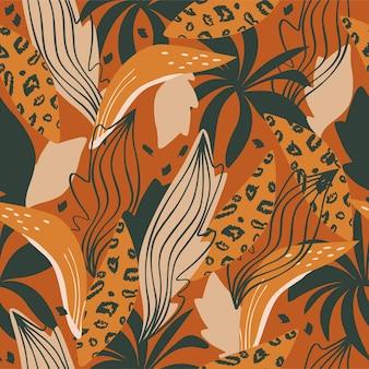 Modello senza cuciture elementi di forme astratte foglie che disegnano su uno sfondo bianco disegnato a mano