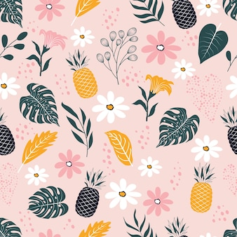 Modello senza cuciture di foglie tropicali astratte e bellissimi fiori con frutta di ananas