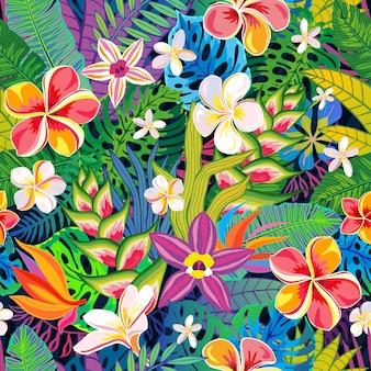 Piante tropicali dell'estratto senza cuciture del modello, fiori, foglie. elementi di design. giungla floreale colorata di fauna selvatica. sfondo di arte della foresta pluviale. illustrazione