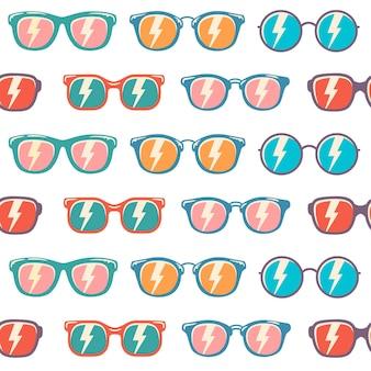 Modello senza cuciture di sfondo occhiali da sole con colore, modello di occhiali da sole vintage Vettore Premium