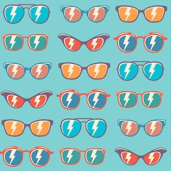Modello senza cuciture di sfondo occhiali da sole con colore, modello di occhiali da sole vintage