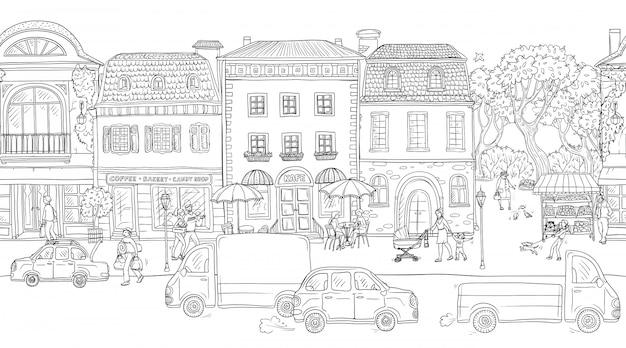 Sfondo modello senza soluzione di continuità illustrazione vettoriale via urbana nella storica città europea. persone che camminano, edifici residenziali con caffè e negozi