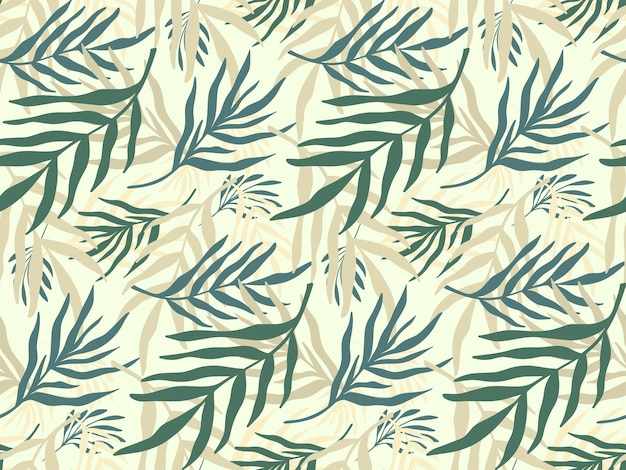 Fondo senza cuciture con sagoma di pianta disegnata a mano astratta. fogliame tropicale, struttura floreale minimalista del ramo di palma.