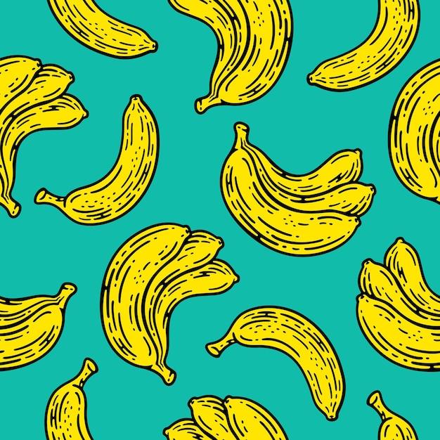 Modello senza cuciture di frutta banana in stile vintage doodle.
