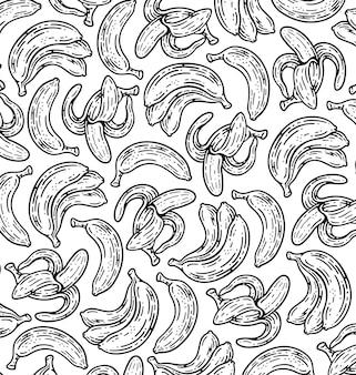 Modello senza giunture di banana frutta in doodle in stile vintage