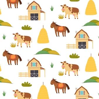 Animali da fattoria pagliaio fienile senza cuciture. sfondo ripetitivo con motivo rustico. carta per disegnare a mano vettoriale, carta da parati per bambini