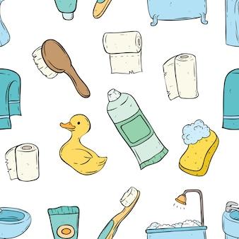 Modello senza cuciture delle icone del bagno con colore e stile di doodle
