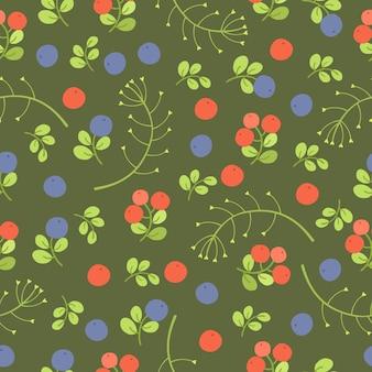 Modello senza cuciture di frutti di bosco su green