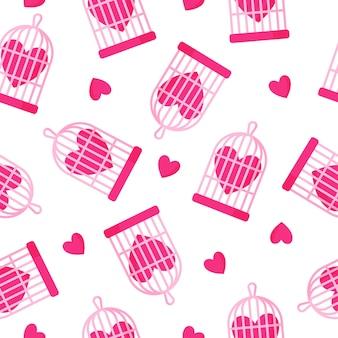 Modello senza cuciture di gabbia per uccelli e cuore per il matrimonio o il giorno di san valentino.