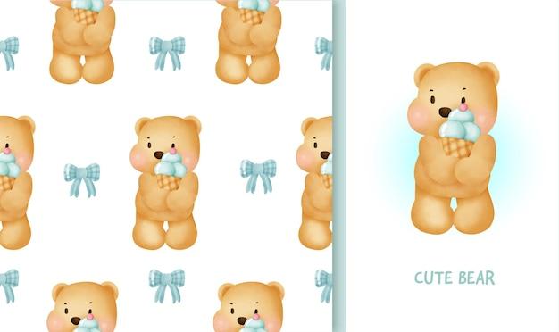 Modello senza cuciture e biglietto di auguri di compleanno con tenero orsacchiotto che tiene un gelato.