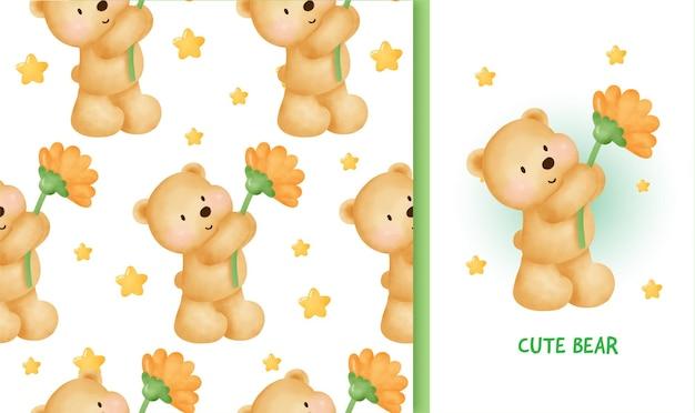 Modello senza cuciture biglietto di auguri di compleanno con tenero orsacchiotto che tiene un girasole.
