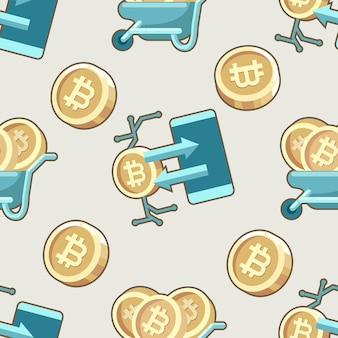 Modello senza cuciture cartoon valuta bitcoin