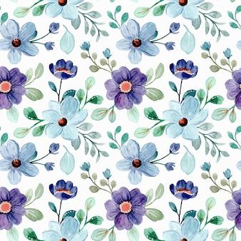 Modello senza cuciture di acquerello blu floreale e foglie verdi