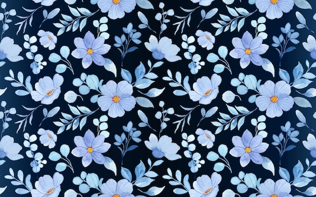 Modello senza cuciture di acquerello floreale blu su sfondo scuro
