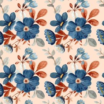 Modello senza cuciture di fiore blu con acquerello