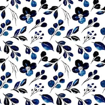 Modello senza giunture di foglie blu acquerello