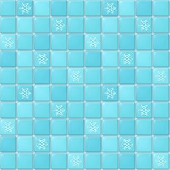 Seamless pattern di mosaico quadrato blu con ornamento di fiocchi di neve. piastrella invernale