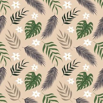 Modello senza cuciture di foglie tropicali floreali botaniche